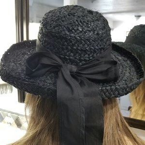 BLACK HAT STRAW COUNTRY CHIC